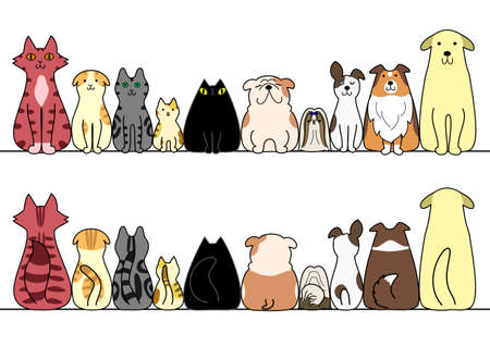 Ilustración de dogs and cats in a row with copy space, front and back - Imagen libre de derechos