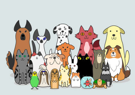 Illustration pour dogs, Cats and small animals group - image libre de droit