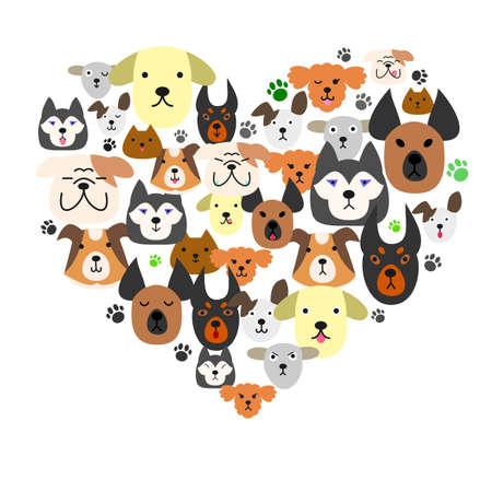 Ilustración de Dogs face in heartshape - Imagen libre de derechos