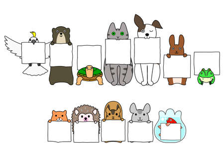 Ilustración de Pet animals in line with white cards - Imagen libre de derechos