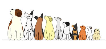 Ilustración de dogs in a row, looking away - Imagen libre de derechos