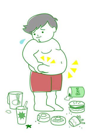 Illustrazione per Obese man with foods - Immagini Royalty Free