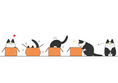 Ilustración de Cat going into a box - Imagen libre de derechos