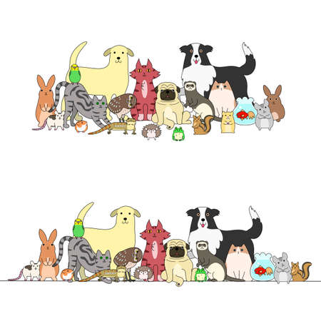 Ilustración de set of pets, a row and a group - Imagen libre de derechos