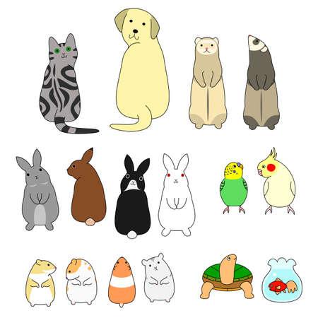 Ilustración de various posing pets set - Imagen libre de derechos