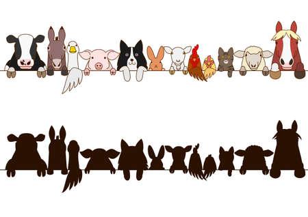 Ilustración de farm animals border with silhouette - Imagen libre de derechos