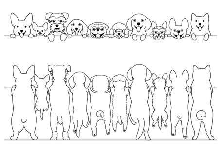 Illustration pour standing small dogs front and back line art border set - image libre de droit