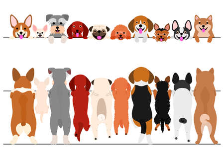 Illustration pour standing small dogs front and back border set - image libre de droit