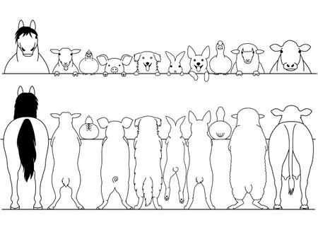 Ilustración de Standing farm animals front and back border set - Imagen libre de derechos