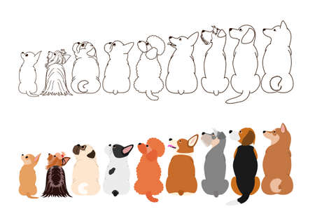Illustration for dogs looking up sideways in a row - Royalty Free Image