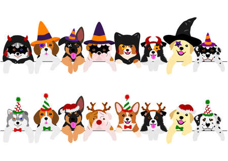 Ilustración de with Halloween costumes and with Christmas costumes, cute pups border set - Imagen libre de derechos