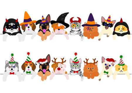 Ilustración de cute puppies and kitties border set with Halloween costumes and with Christmas costumes - Imagen libre de derechos