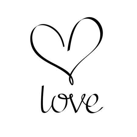 Illustration pour Love lettering. Calligraphy inscription. Heart icon. Love icon. elements for design. - image libre de droit