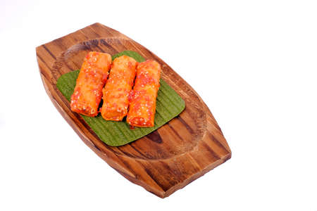 Photo for Traditional Malaysian food. Popia  isolated on white background. - Royalty Free Image