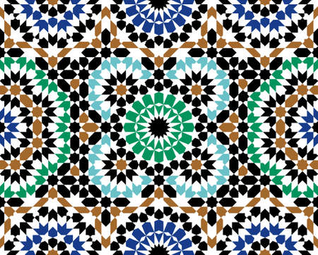 Ilustración de Morocco Seamless Pattern. Traditional Arabic Islamic Background. Mosque decoration element. - Imagen libre de derechos