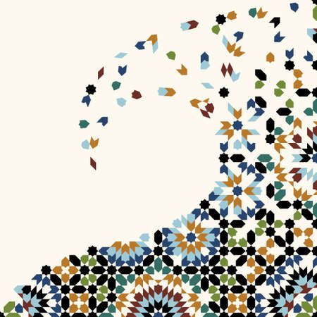 Illustration for Morocco Disintegration Template. Islamic Mosaic Design. Abstract Background. - Royalty Free Image