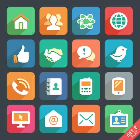Illustration pour Communication and media  Flat icons for Web and Mobile App. - image libre de droit