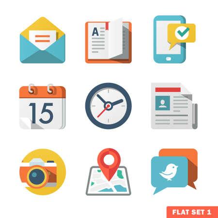 Illustration pour Basic Flat icon set for Web and Mobile Application  News, communications  - image libre de droit