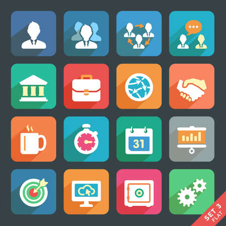 Illustrazione per Office and business Flat icons for Web and Mobile Applications  - Immagini Royalty Free