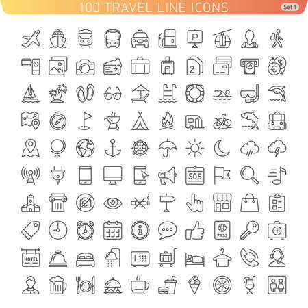 Ilustración de Travel Line Icons for Web and Mobile. Light version. - Imagen libre de derechos