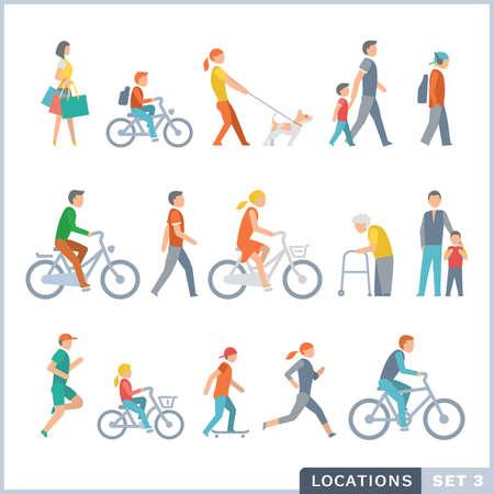 Ilustración de People on the street. Neighbors. Flat icons. - Imagen libre de derechos