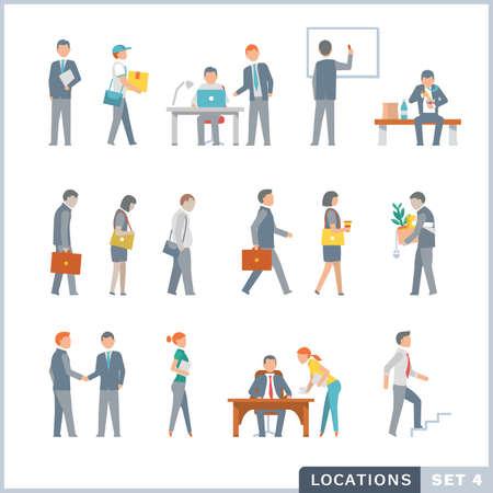 Ilustración de People on the work. Office. Flat icons. - Imagen libre de derechos