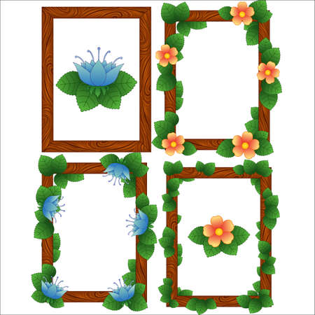 Ilustración de Wood frames with leaves and flowers - Imagen libre de derechos