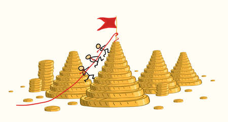 Illustration pour The business team together is storming the height marked with a flag against the background of a landscape of mountains of gold coins. winning the competition increases revenue - image libre de droit