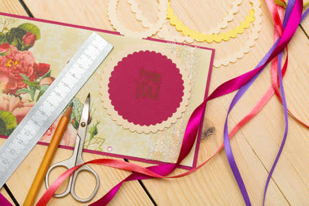 Photo for scrapbook background. Card and tools with decoration - Royalty Free Image