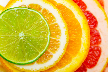 Photo for citrus background - lime, lemon, orange, grapefruit - Royalty Free Image