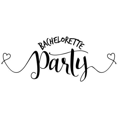 Illustration pour Bachelorette party - Hand letter script engagement party sign catch word art design with hearts. Good for scrap booking, posters, textiles, gifts, wedding sets. - image libre de droit