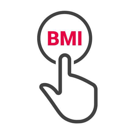 Illustrazione per Hand presses the button with text BMI. Vector illustration - Immagini Royalty Free