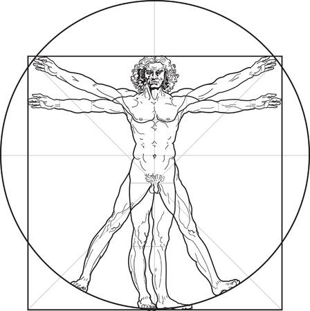 The Vitruvian man, or so called Leonardo's man. Detailed drawing on the basis of artwork by Leonardo da Vinci (executed circa in 1490) by ancient manuscript of Roman master Marcus Vitruvius Pollio.