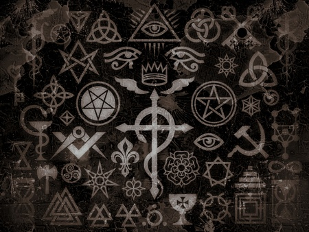 Foto de The mystic symbols of the Illuminati, Masonic Rituals and black magic. (Vintage Grime Edition). - Imagen libre de derechos