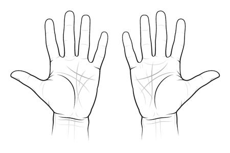 Ilustración de Chiromancy Chart of the Palms: lines and ways, EPS-8 - Imagen libre de derechos