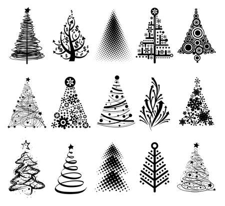 Illustrazione per 15 designs in one file. To create holiday cards, backgrounds, ornaments, decoration. - Immagini Royalty Free