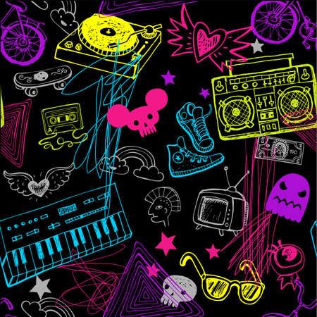 Illustration pour Black seamless music background. - image libre de droit