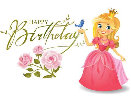 Illustration for Happy Birthday, Princess, greeting card. - Royalty Free Image