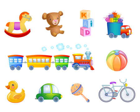 Illustration pour Set of 10 vector toys for kid. - image libre de droit