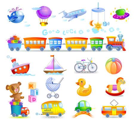 Ilustración de Variety of childrens toys - Imagen libre de derechos