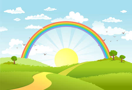 Illustration for Rural scene with rainbow and bright sun, house and trees on sunny day - Royalty Free Image