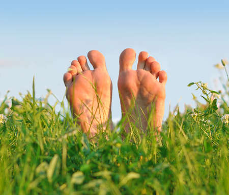 Photo for Feet having a rest on a green soft grass in the summer day. - Royalty Free Image