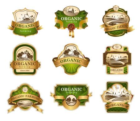 Ilustración de Organic farming lables - Imagen libre de derechos