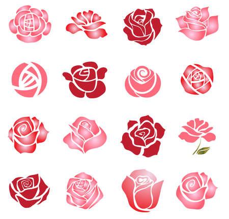 Illustration pour Set of rose flower design elements - image libre de droit