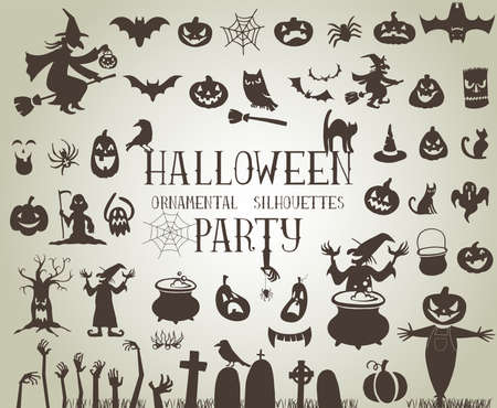 Illustrazione per Set of silhouettes for Halloween party - Immagini Royalty Free