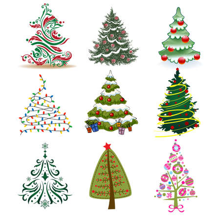 Illustrazione per Set of Christmas Trees to create holiday cards, backgrounds and decorations. - Immagini Royalty Free