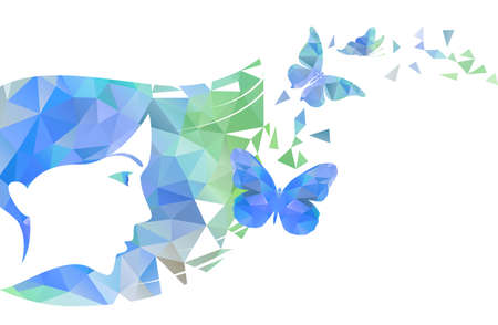 Illustration of the face of the beautiful woman and flying away butterflies. Polygon vector illustration.