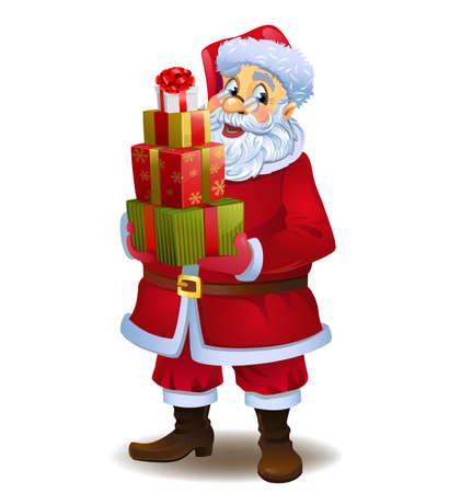 Illustration pour Santa Claus with gifts - image libre de droit