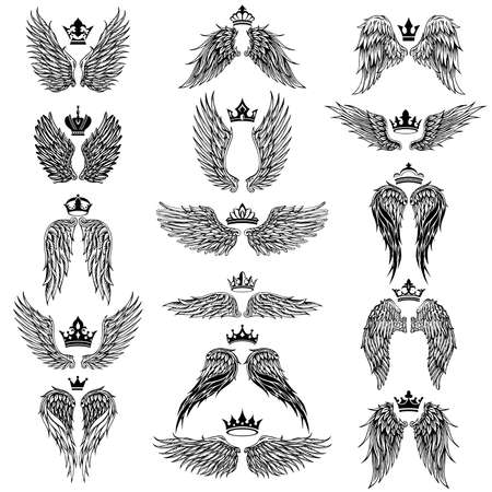 Illustration for Collection of Wings with crown silhouette symbols - Royalty Free Image