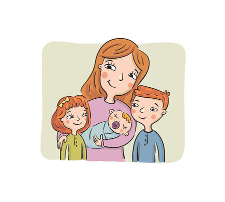 Illustration pour Mother shows to the eldest son and daughter the newborn child, vector illustration - image libre de droit